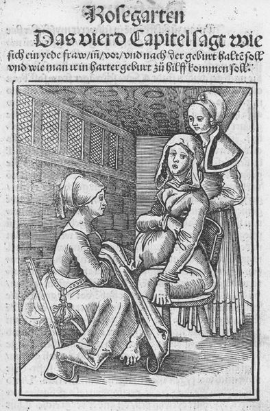 Chapter 4 illustration to Eucharius Rößlin's 1515 book about childbirth, Der Swangern frawen vnd hebamme(n) roszgarte(n)