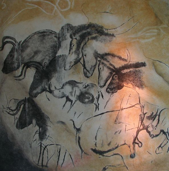 Replica of paintings from Chauvet Cave, France, in the Anthropos Museum, Brno, Czech Republic