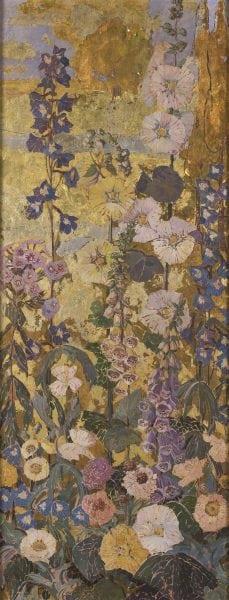 M. Elizabeth Prince, Flower Border I (Image via Michener Art Museum; https://www.michenerartmuseum.org/article/13280/michener-acquires-diptych-by-elizabeth-price/)